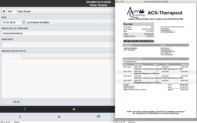 ACS-Therapeut (Tarif 590) sur le Mac sur plaine écran avec la facture