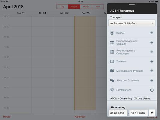 ACS-Therapeut (Tarif 590) auf dem iPad