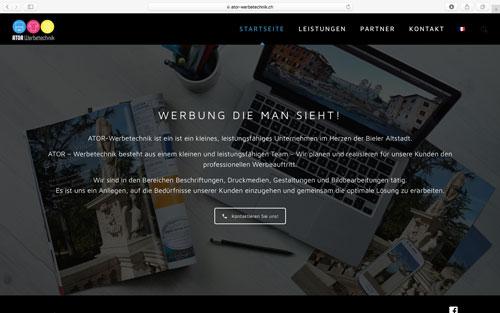 Webseite ATOR - Werbetechnik