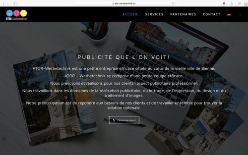 Site web ATOR - Werbetechnik
