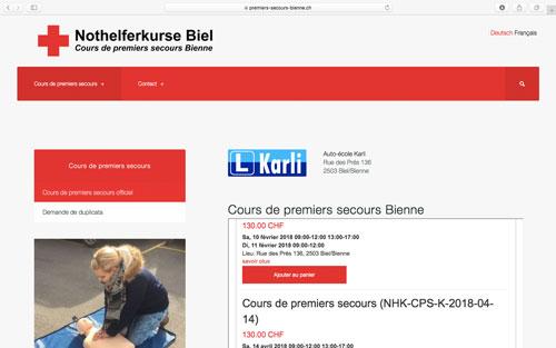 Site web Premiers Secours Bienne