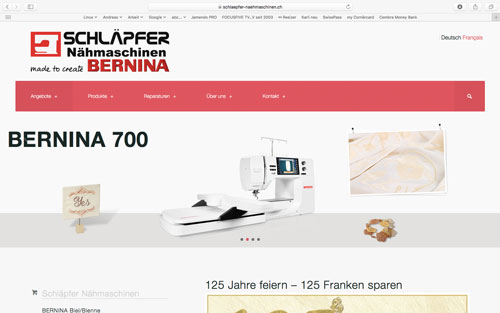 Webseite BERNINA Biel